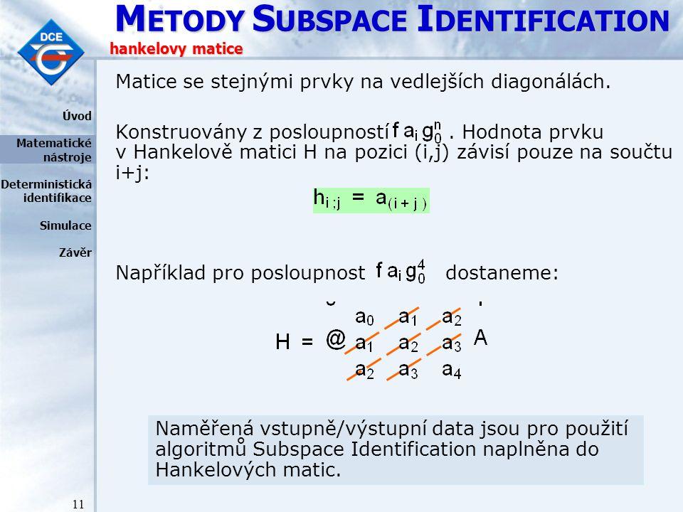 M ETODY S UBSPACE I DENTIFICATION 11 hankelovy matice Matice se stejnými prvky na vedlejších diagonálách.