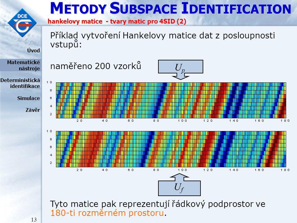 M ETODY S UBSPACE I DENTIFICATION 13 hankelovy matice - tvary matic pro 4SID (2) UfUf Příklad vytvoření Hankelovy matice dat z posloupnosti vstupů: naměřeno 200 vzorků UpUp Úvod Matematické nástroje Deterministická identifikace Simulace Závěr Tyto matice pak reprezentují řádkový podprostor ve 180-ti rozměrném prostoru.