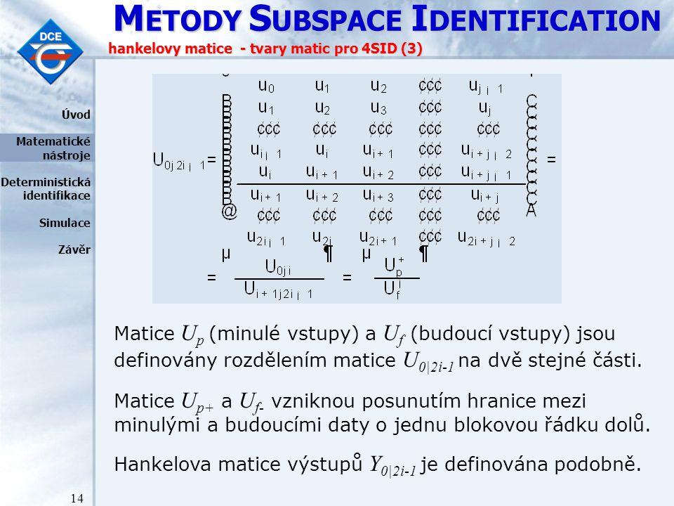 M ETODY S UBSPACE I DENTIFICATION 14 hankelovy matice - tvary matic pro 4SID (3) Matice U p (minulé vstupy) a U f (budoucí vstupy) jsou definovány rozdělením matice U 0|2i-1 na dvě stejné části.