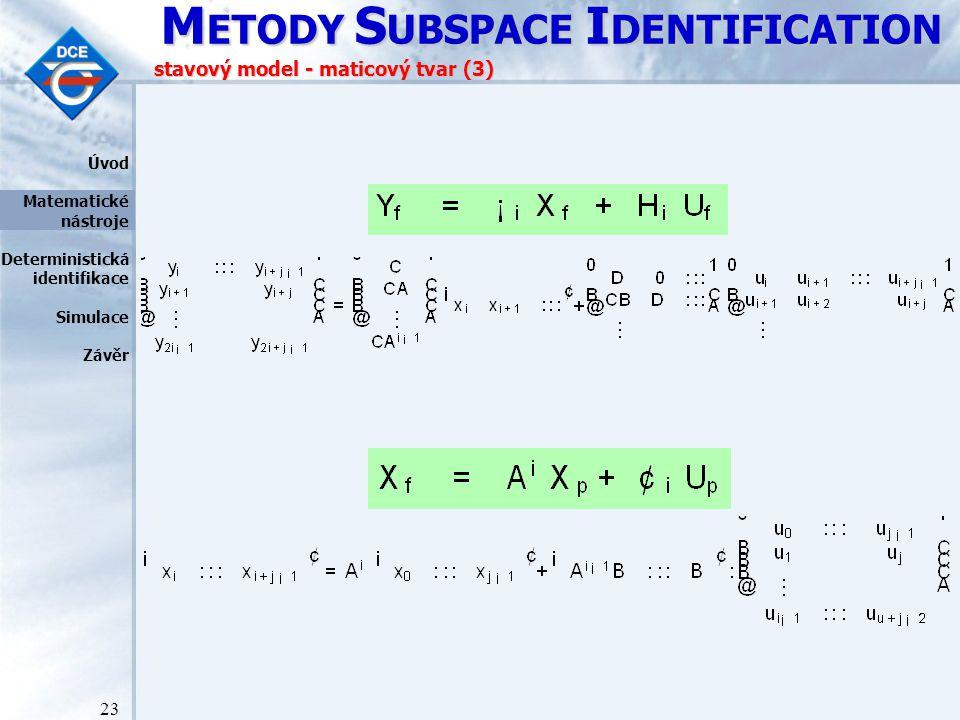 M ETODY S UBSPACE I DENTIFICATION 23 stavový model - maticový tvar (3) Úvod Matematické nástroje Deterministická identifikace Simulace Závěr
