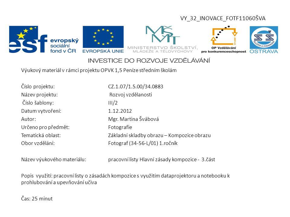 VY_32_INOVACE_FOTF11060ŠVA Výukový materiál v rámci projektu OPVK 1,5 Peníze středním školám Číslo projektu:CZ.1.07/1.5.00/34.0883 Název projektu: Rozvoj vzdělanosti Číslo šablony:III/2 Datum vytvoření:1.12.2012 Autor:Mgr.