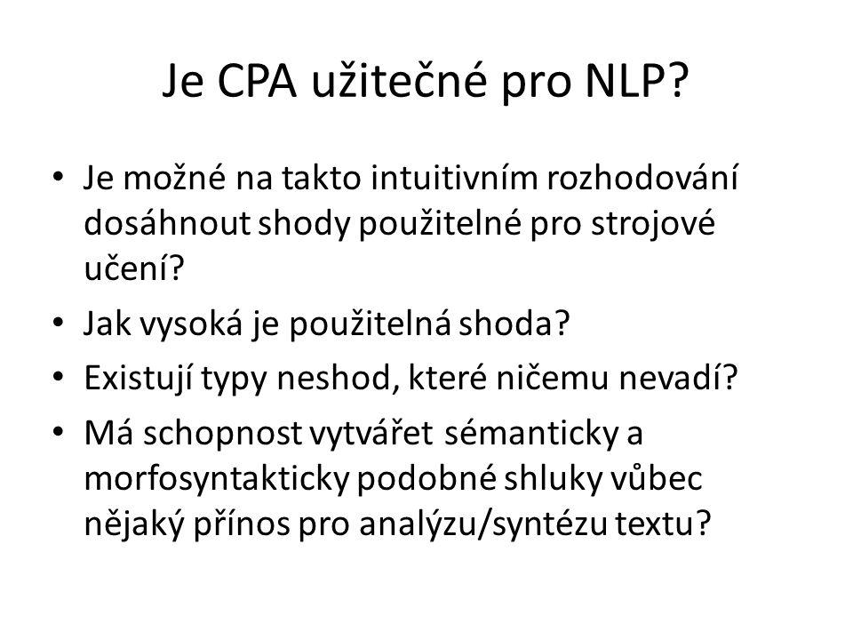 Je CPA užitečné pro NLP? Je možné na takto intuitivním rozhodování dosáhnout shody použitelné pro strojové učení? Jak vysoká je použitelná shoda? Exis