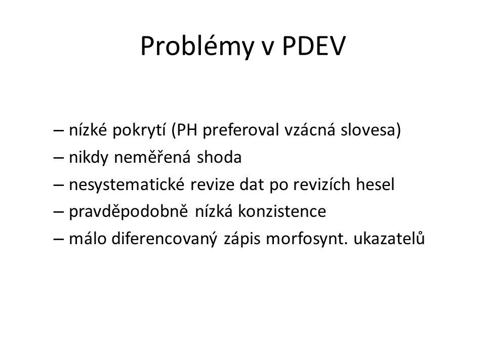 Problémy v PDEV – nízké pokrytí (PH preferoval vzácná slovesa) – nikdy neměřená shoda – nesystematické revize dat po revizích hesel – pravděpodobně ní