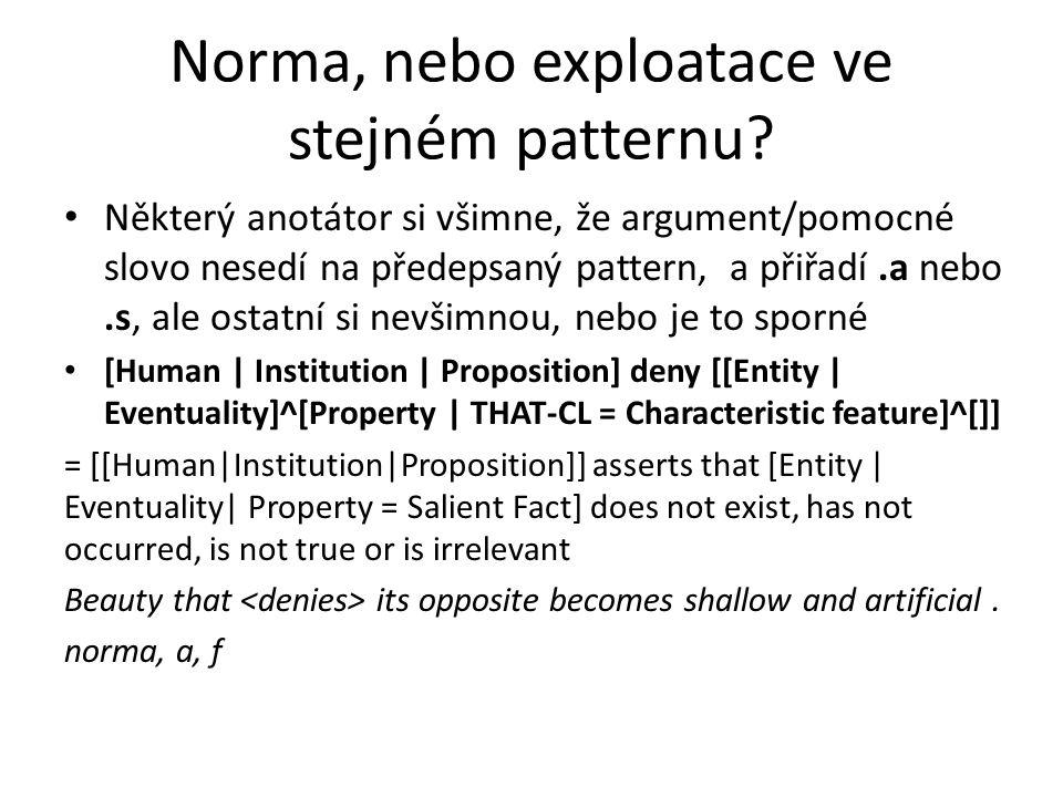 Norma, nebo exploatace ve stejném patternu? Některý anotátor si všimne, že argument/pomocné slovo nesedí na předepsaný pattern, a přiřadí.a nebo.s, al