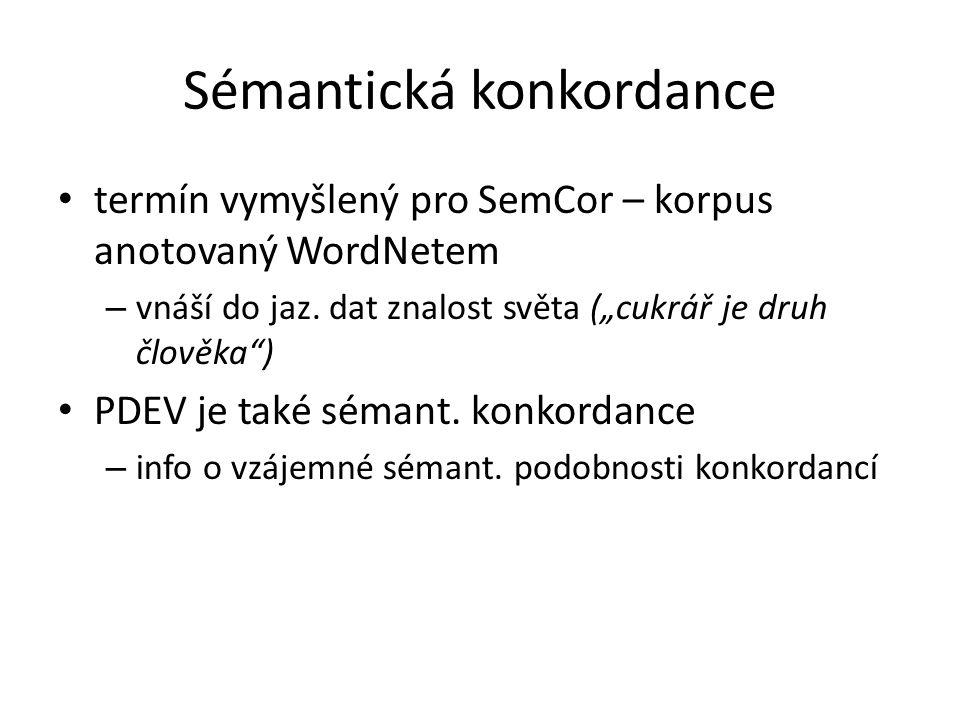 """Sémantická konkordance termín vymyšlený pro SemCor – korpus anotovaný WordNetem – vnáší do jaz. dat znalost světa (""""cukrář je druh člověka"""") PDEV je t"""
