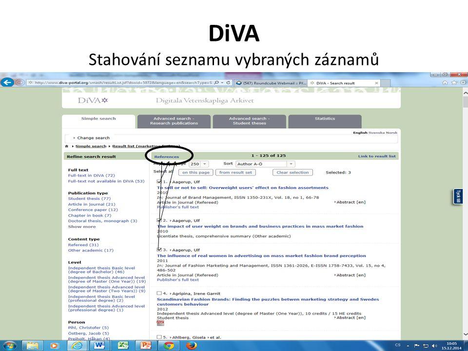 DiVA Stahování seznamu vybraných záznamů