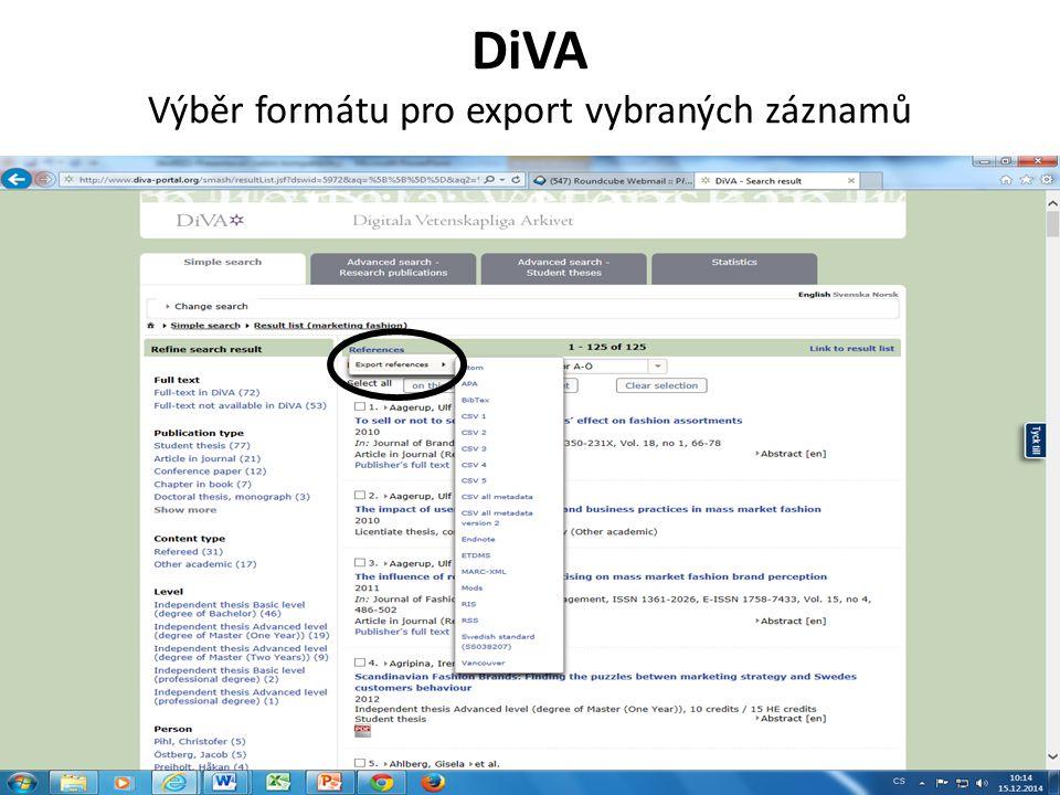 DiVA Výběr formátu pro export vybraných záznamů