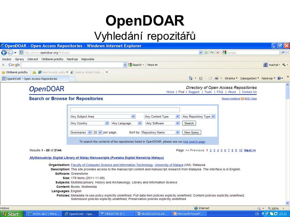 OpenDOAR Vyhledání repozitářů