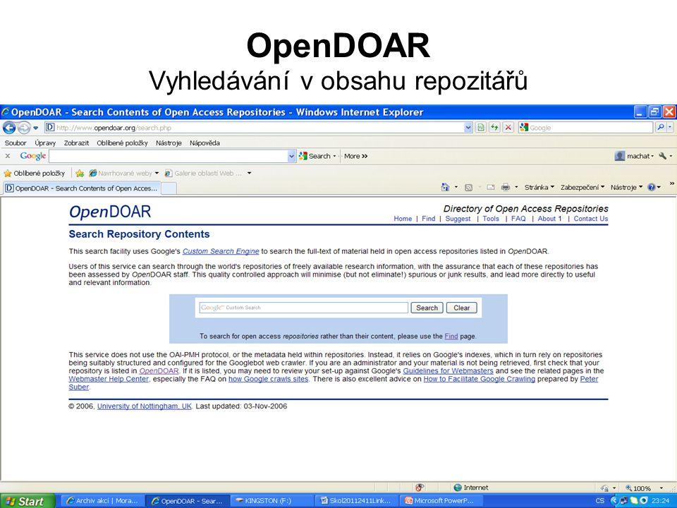 OpenDOAR Vyhledávání v obsahu repozitářů