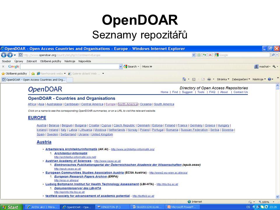 OpenDOAR Seznamy repozitářů