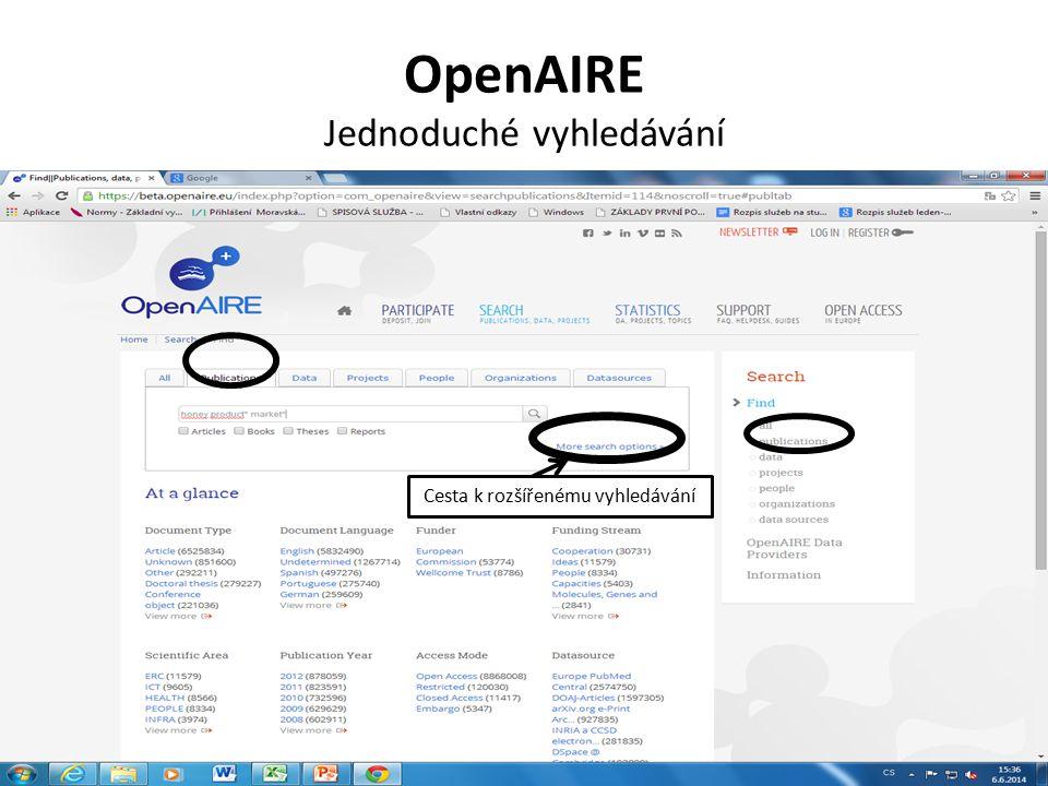 OpenAIRE Jednoduché vyhledávání Cesta k rozšířenému vyhledávání