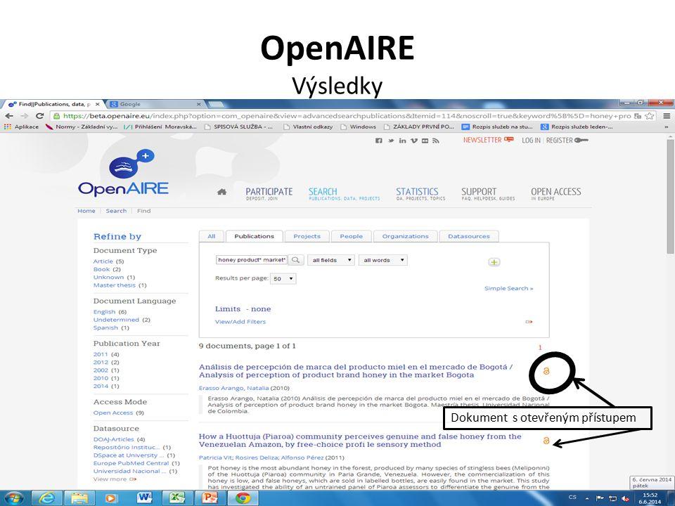 OpenAIRE Výsledky Dokument s otevřeným přístupem