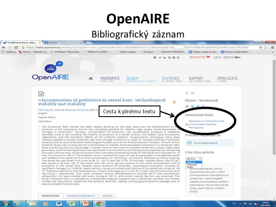 OpenAIRE Bibliografický záznam Cesta k plnému textu