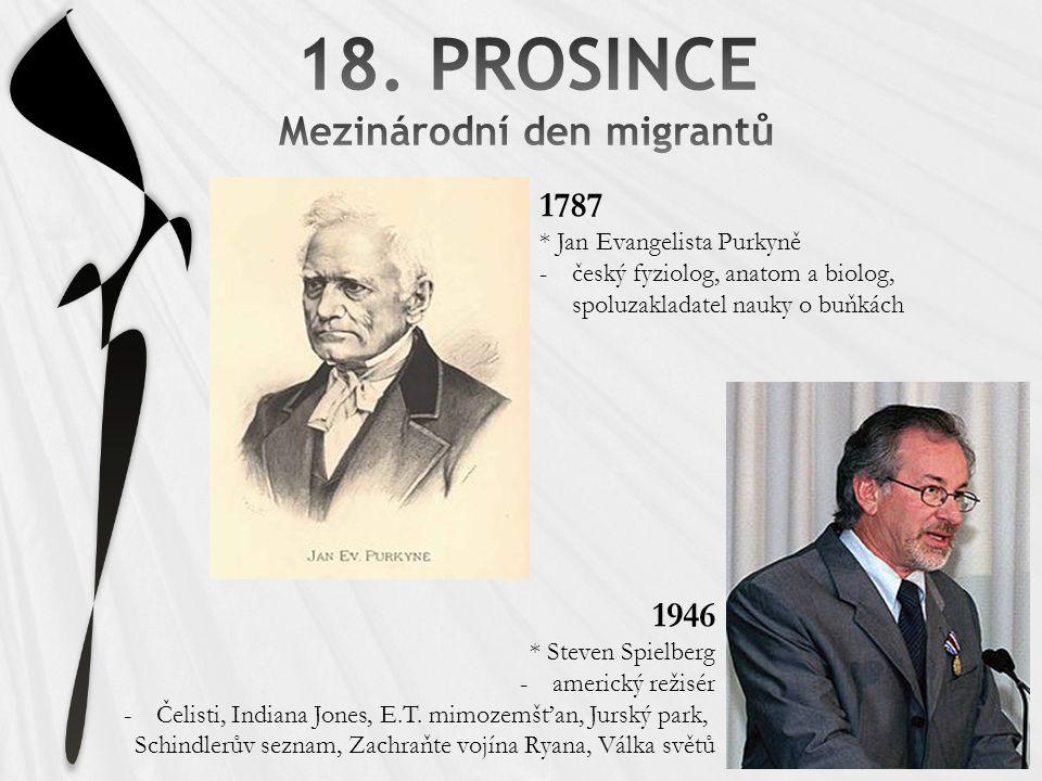 1787 * Jan Evangelista Purkyně -český fyziolog, anatom a biolog, spoluzakladatel nauky o buňkách 1946 * Steven Spielberg -americký režisér -Čelisti, Indiana Jones, E.T.