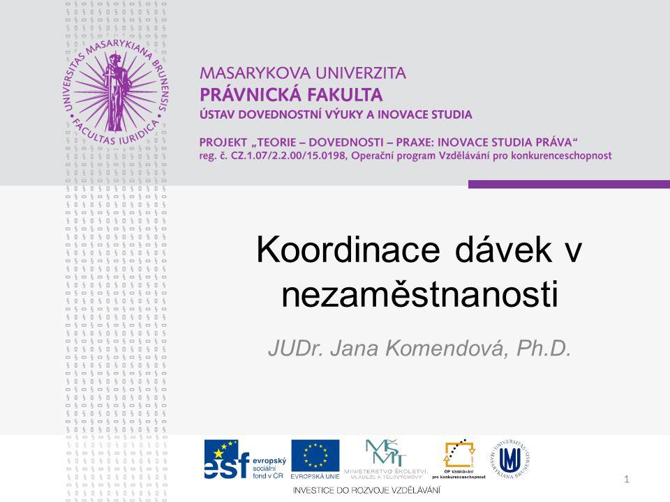 1 Koordinace dávek v nezaměstnanosti JUDr. Jana Komendová, Ph.D.