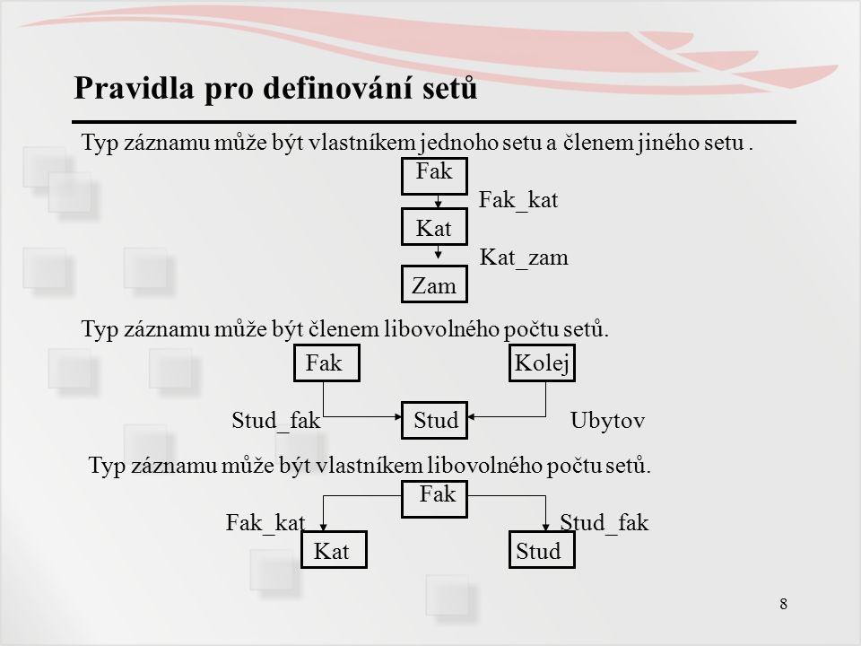 19 Jazyk pro manipulaci s daty – seznam příkazů FIND vyhledá výskyt záznamu v DB a definuje jej za aktuální záznam programu, aktuální záznam příslušného typu záznamu, případně aktuálním záznamem setů, v nichž je záznam zařazen … databázový klíč vyhledaného výskytu záznamu je uložen do položek Current of Program, příslušného Current of RECORD a příslušných Current of SET GET přesune do uživatelské oblasti aktuální záznam programu STOREuloží nový výskyt záznamu do DB, definuje jej za aktuální záznam programu, aktuální záznam příslušného typu záznamu a za aktuální záznamy setů, do nichž je případně automaticky zařazen MODIFY modifikuje aktuální záznam programu ERASE vymaže aktuální záznam programu z DB CONNECT vloží aktuální záznam programu do výskytu setu DISCONNECT vyjme aktuální záznam programu z výskytu setu RECONNECT přesune aktuální záznam do jiného setu