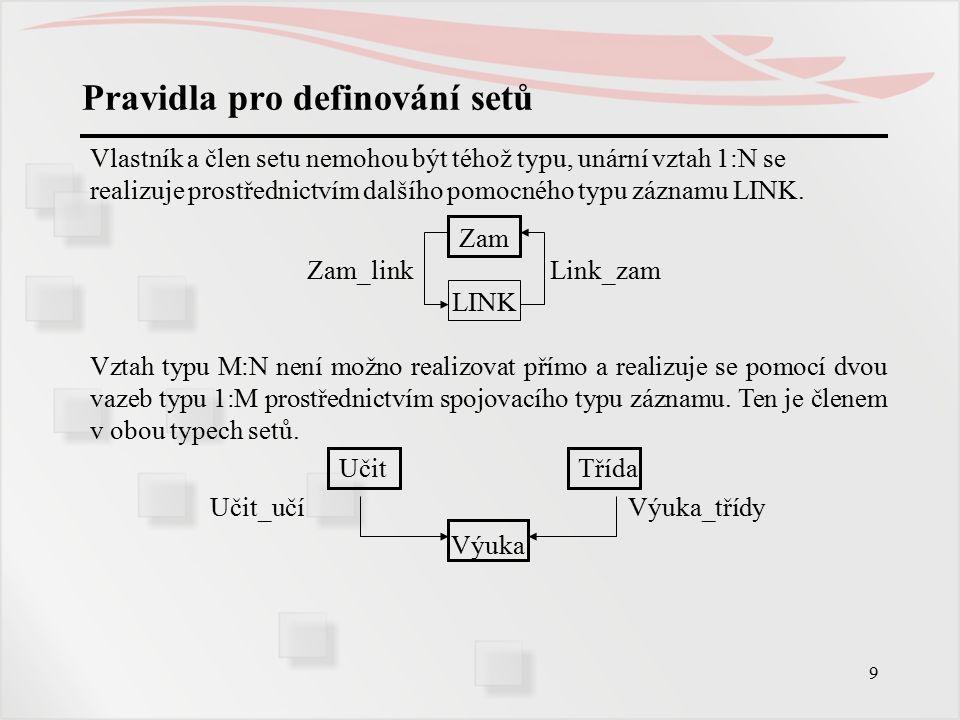 30 Jazyk pro manipulaci s daty - příkazy Vyhledání záznamů podle hodnot z tabulky aktuálních ukazatelů FIND CURRENT OF T RECORD Nastaví aktuální záznam nějakého typu za aktuální záznam programu.