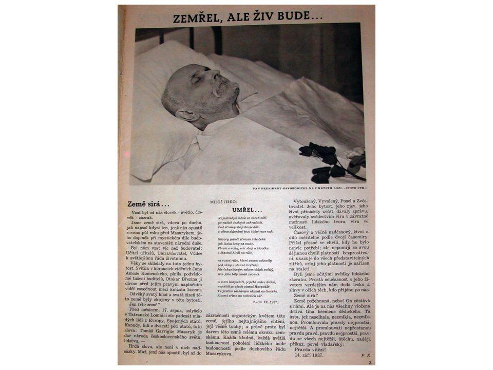 Otázky k dokumentu 1.Datum úmrtí TGM (14.9.1937) 2.