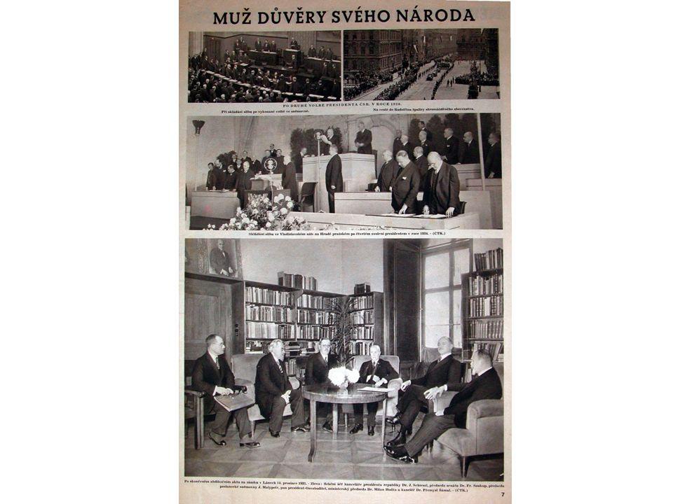 Otázky k dokumentu 1.Kolikrát byl T.G.M.zvolen prezidentem republiky a kdy naposled.