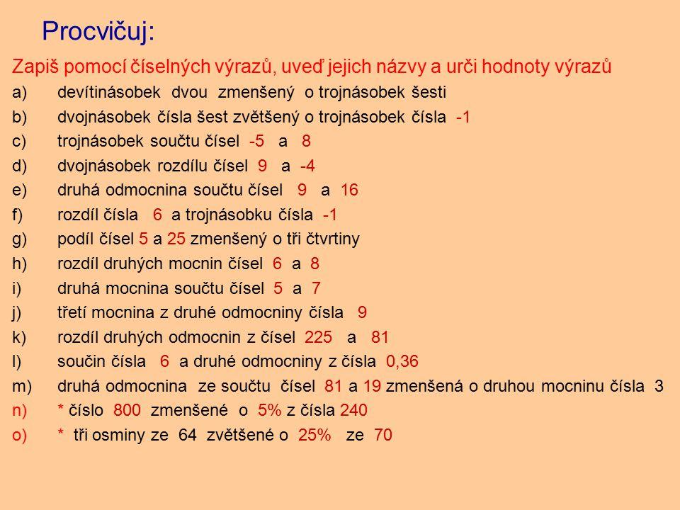 Procvičuj: Zapiš pomocí číselných výrazů, uveď jejich názvy a urči hodnoty výrazů a)devítinásobek dvou zmenšený o trojnásobek šesti b)dvojnásobek čísla šest zvětšený o trojnásobek čísla -1 c)trojnásobek součtu čísel -5 a 8 d)dvojnásobek rozdílu čísel 9 a -4 e)druhá odmocnina součtu čísel 9 a 16 f)rozdíl čísla 6 a trojnásobku čísla -1 g)podíl čísel 5 a 25 zmenšený o tři čtvrtiny h)rozdíl druhých mocnin čísel 6 a 8 i)druhá mocnina součtu čísel 5 a 7 j)třetí mocnina z druhé odmocniny čísla 9 k)rozdíl druhých odmocnin z čísel 225 a 81 l)součin čísla 6 a druhé odmocniny z čísla 0,36 m)druhá odmocnina ze součtu čísel 81 a 19 zmenšená o druhou mocninu čísla 3 n)* číslo 800 zmenšené o 5% z čísla 240 o)* tři osminy ze 64 zvětšené o 25% ze 70