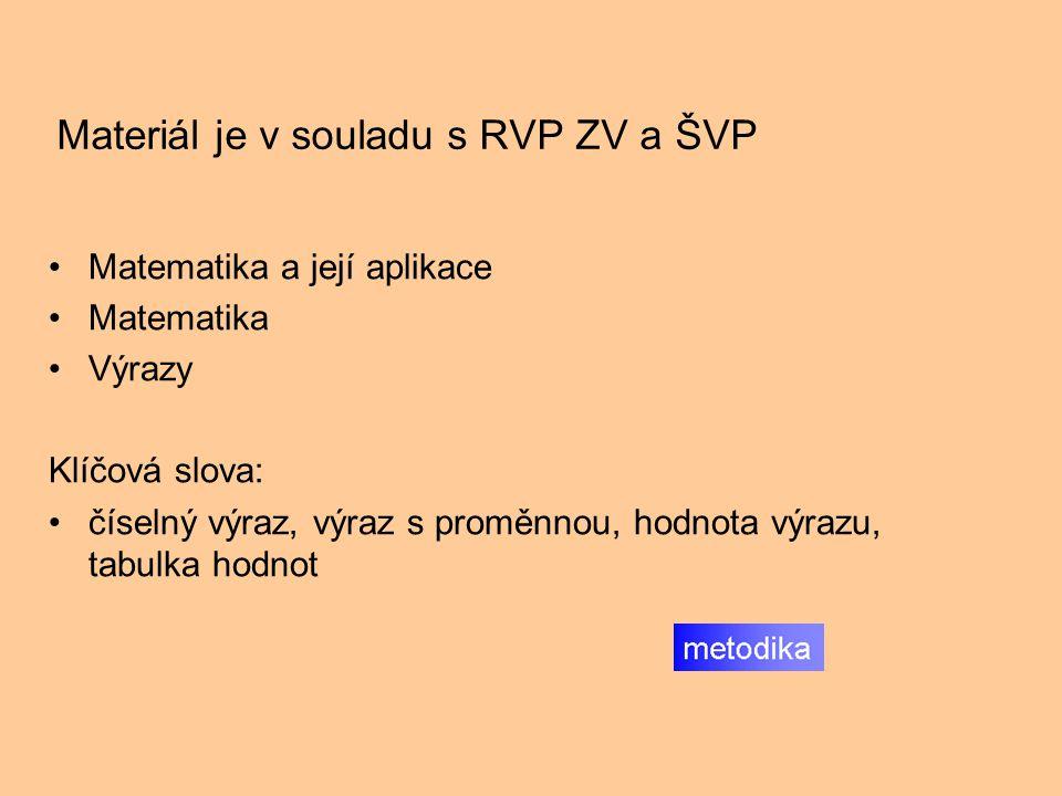 Materiál je v souladu s RVP ZV a ŠVP Matematika a její aplikace Matematika Výrazy Klíčová slova: číselný výraz, výraz s proměnnou, hodnota výrazu, tabulka hodnot