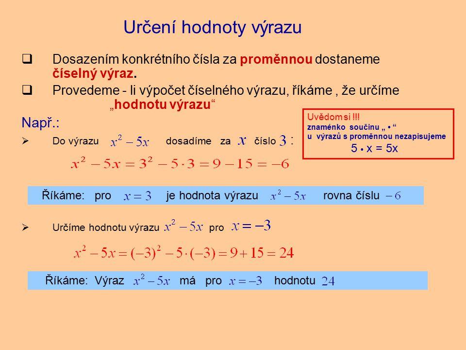 Říkáme: pro je hodnota výrazu rovna číslu  Dosazením konkrétního čísla za proměnnou dostaneme číselný výraz.