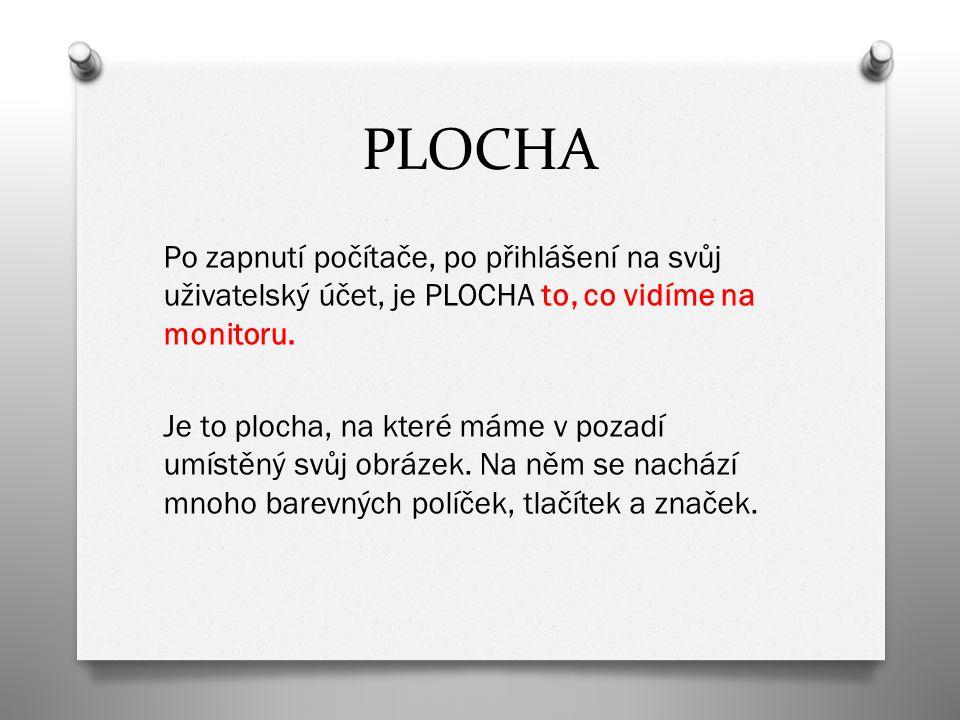 PLOCHA Po zapnutí počítače, po přihlášení na svůj uživatelský účet, je PLOCHA to, co vidíme na monitoru. Je to plocha, na které máme v pozadí umístěný
