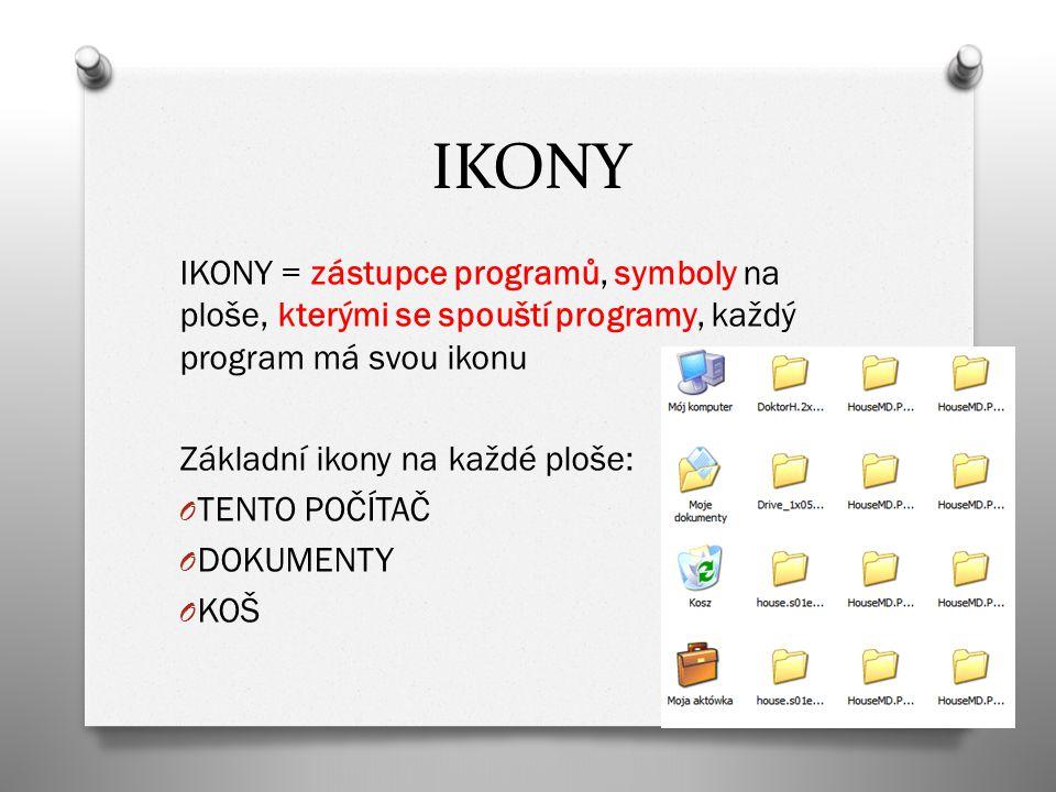 IKONY IKONY = zástupce programů, symboly na ploše, kterými se spouští programy, každý program má svou ikonu Základní ikony na každé ploše: O TENTO POČÍTAČ O DOKUMENTY O KOŠ