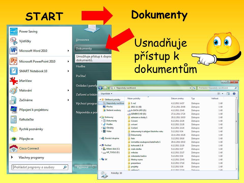 START Dokumenty Usnadňuje přístup k dokumentům