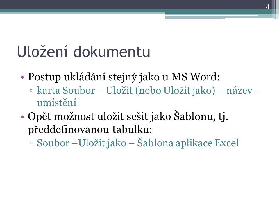 Uložení dokumentu Postup ukládání stejný jako u MS Word: ▫karta Soubor – Uložit (nebo Uložit jako) – název – umístění Opět možnost uložit sešit jako Šablonu, tj.