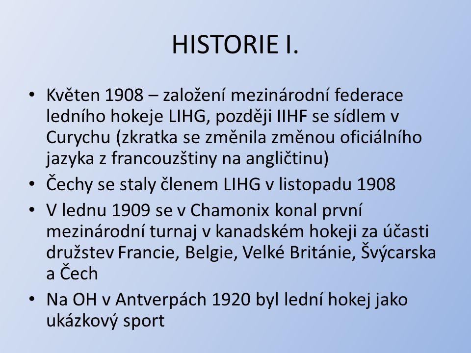HISTORIE II.Na 1. zimních OH v Chamonix 1924 byl hokejový turnaj také 1.
