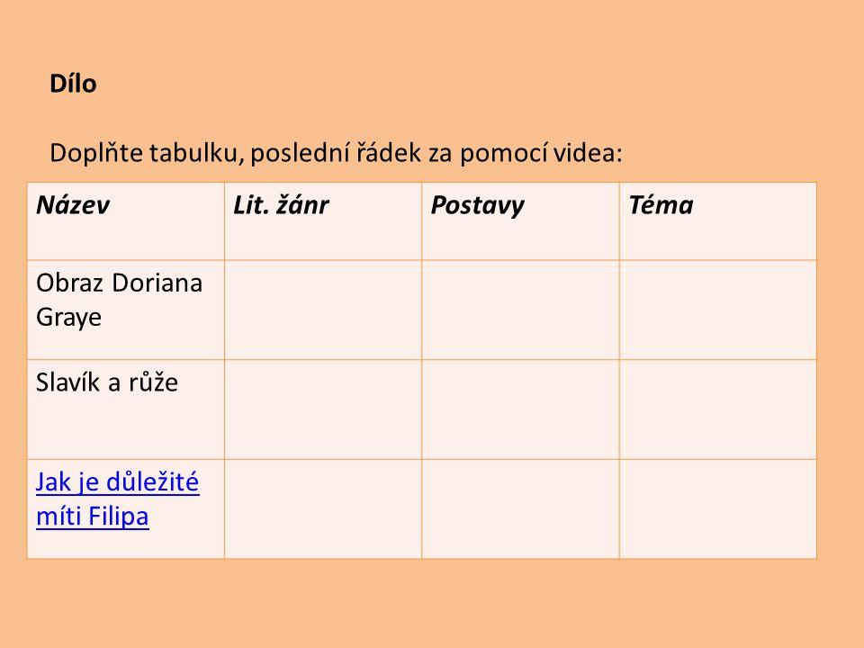 Dílo Doplňte tabulku, poslední řádek za pomocí videa: NázevLit.