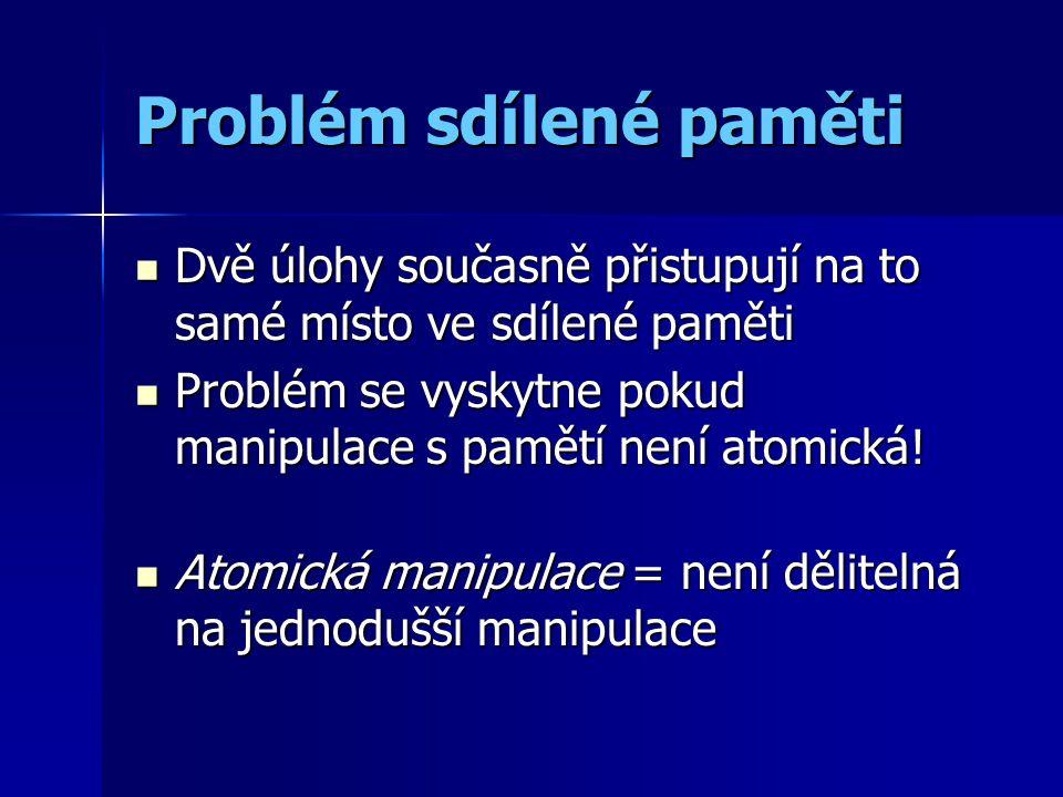Problém sdílené paměti (jazyk podobný Pascalu) Úloha 1 I:=I+1; A[I] := DATA_1 Úloha 2 I:=I+1; A[I] := DATA_2 I=index do pole, A=pole DATA_1,DATA_2=data DATA_1, DATA_2=data