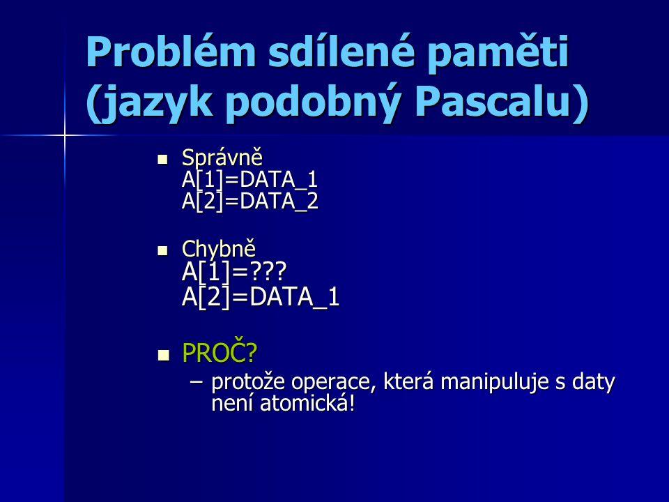 Problém sdílené paměti (jazyk podobný Pascalu) Správně A[1]=DATA_1 A[2]=DATA_2 Správně A[1]=DATA_1 A[2]=DATA_2 Chybně A[1]= .