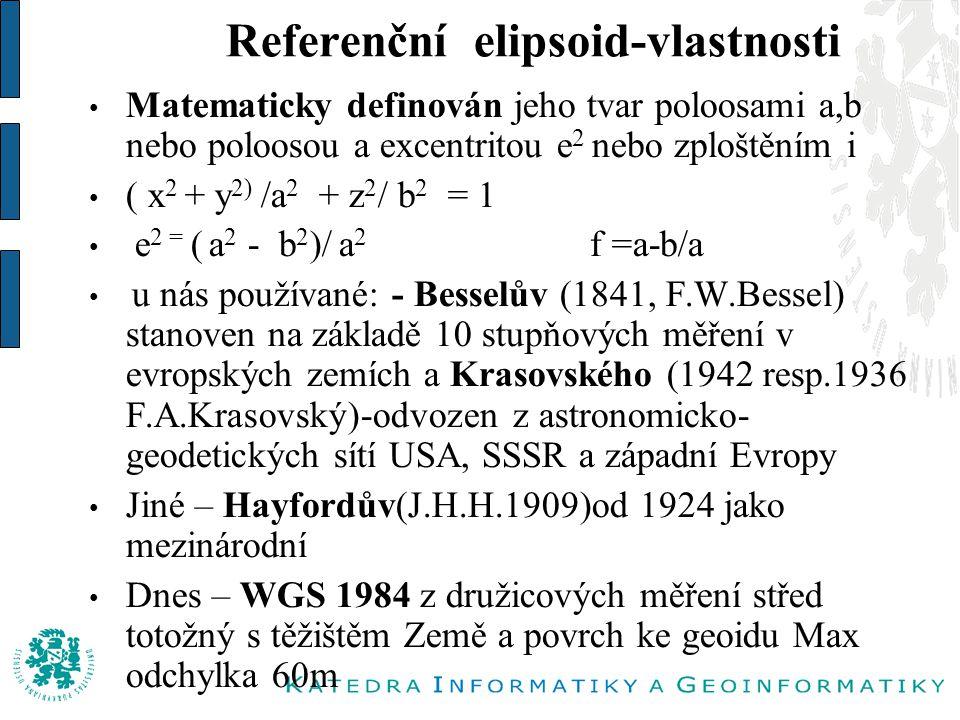 Referenční elipsoid-vlastnosti Matematicky definován jeho tvar poloosami a,b nebo poloosou a excentritou e 2 nebo zploštěním i ( x 2 + y 2) /a 2 + z 2 / b 2 = 1 e 2 = ( a 2 - b 2 )/ a 2 f =a-b/a u nás používané: - Besselův (1841, F.W.Bessel) stanoven na základě 10 stupňových měření v evropských zemích a Krasovského (1942 resp.1936 F.A.Krasovský)-odvozen z astronomicko- geodetických sítí USA, SSSR a západní Evropy Jiné – Hayfordův(J.H.H.1909)od 1924 jako mezinárodní Dnes – WGS 1984 z družicových měření střed totožný s těžištěm Země a povrch ke geoidu Max odchylka 60m