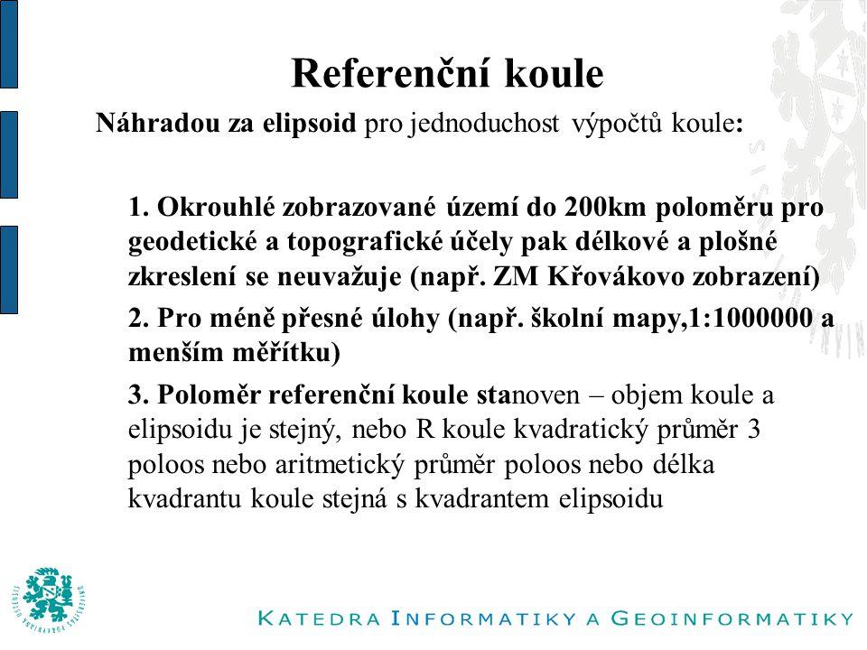 Referenční koule Náhradou za elipsoid pro jednoduchost výpočtů koule: 1.