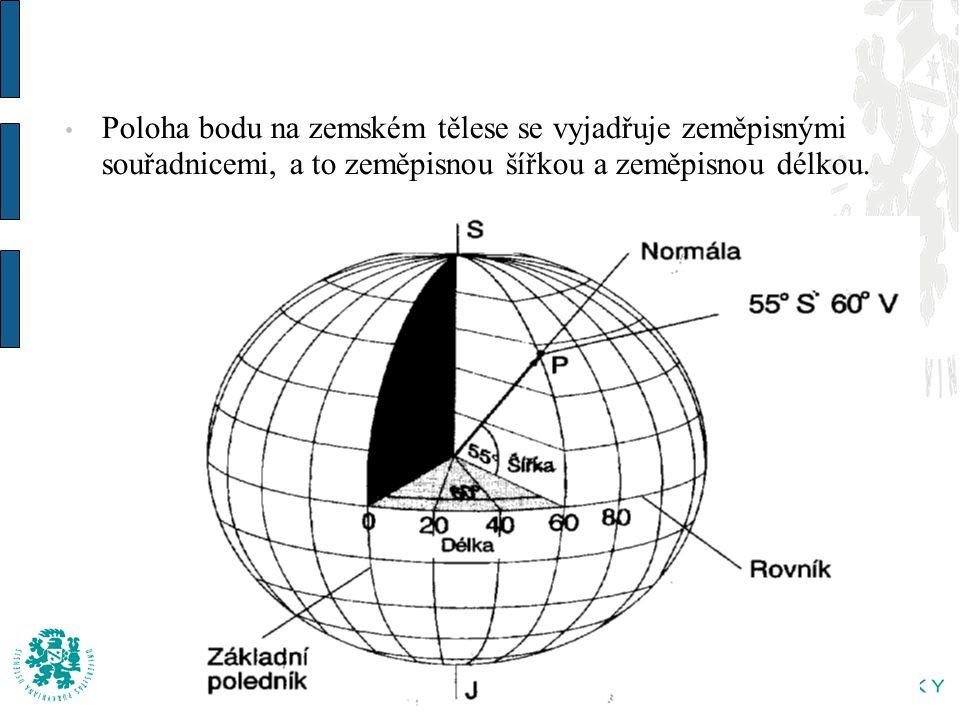 Poloha bodu na zemském tělese se vyjadřuje zeměpisnými souřadnicemi, a to zeměpisnou šířkou a zeměpisnou délkou.