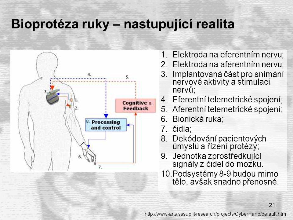 21 Bioprotéza ruky – nastupující realita 1.Elektroda na eferentním nervu; 2.Elektroda na aferentním nervu; 3.Implantovaná část pro snímání nervové aktivity a stimulaci nervů; 4.Eferentní telemetrické spojení; 5.Aferentní telemetrické spojení; 6.Bionická ruka; 7.čidla; 8.Dekódování pacientových úmyslů a řízení protézy; 9.Jednotka zprostředkující signály z čidel do mozku.