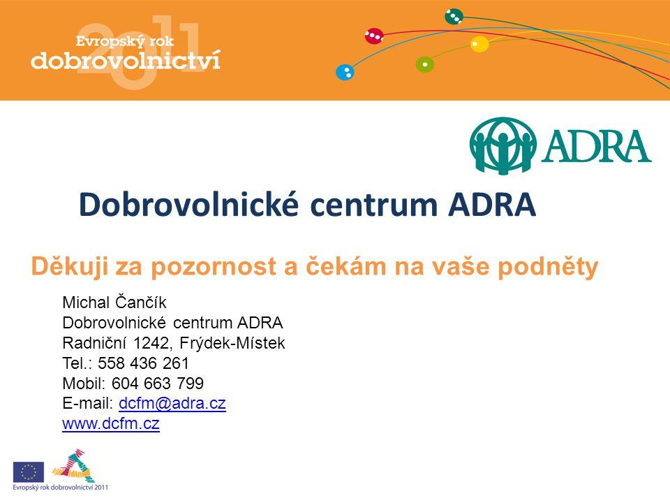 Dobrovolnické centrum ADRA Michal Čančík Dobrovolnické centrum ADRA Radniční 1242, Frýdek-Místek Tel.: 558 436 261 Mobil: 604 663 799 E-mail: dcfm@adr
