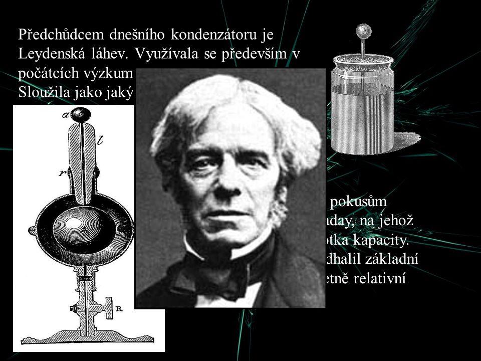 Předchůdcem dnešního kondenzátoru je Leydenská láhev. Využívala se především v počátcích výzkumu elektrických jevů. Sloužila jako jakýsi zásobník nábo