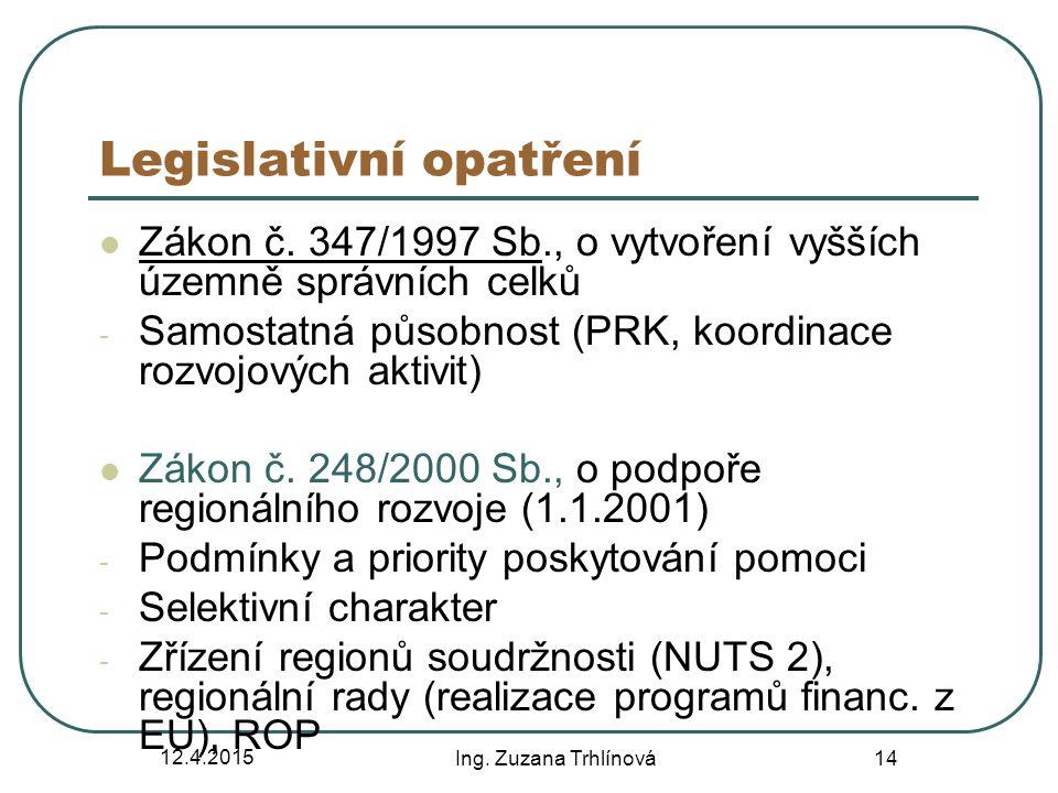 12.4.2015 Ing. Zuzana Trhlínová 14 Legislativní opatření Zákon č. 347/1997 Sb., o vytvoření vyšších územně správních celků - Samostatná působnost (PRK