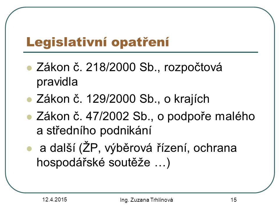 12.4.2015 Ing.Zuzana Trhlínová 15 Legislativní opatření Zákon č.