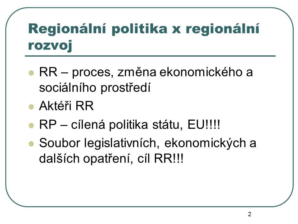 Regionální politika x regionální rozvoj RR – proces, změna ekonomického a sociálního prostředí Aktéři RR RP – cílená politika státu, EU!!!! Soubor leg