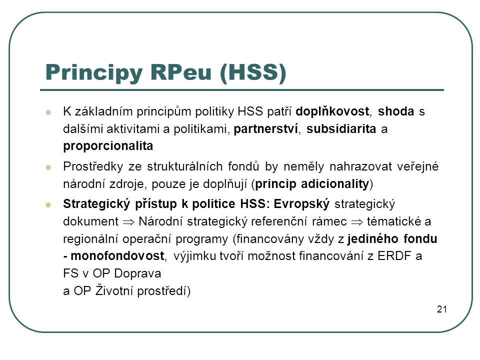 Principy RPeu (HSS) K základním principům politiky HSS patří doplňkovost, shoda s dalšími aktivitami a politikami, partnerství, subsidiarita a proporcionalita Prostředky ze strukturálních fondů by neměly nahrazovat veřejné národní zdroje, pouze je doplňují (princip adicionality) Strategický přístup k politice HSS: Evropský strategický dokument  Národní strategický referenční rámec  tématické a regionální operační programy (financovány vždy z jediného fondu - monofondovost, výjimku tvoří možnost financování z ERDF a FS v OP Doprava a OP Životní prostředí) 21