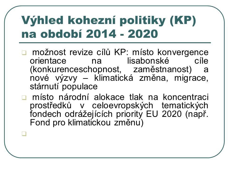 Výhled kohezní politiky (KP) na období 2014 - 2020  možnost revize cílů KP: místo konvergence orientace na lisabonské cíle (konkurenceschopnost, zaměstnanost) a nové výzvy – klimatická změna, migrace, stárnutí populace  místo národní alokace tlak na koncentraci prostředků v celoevropských tematických fondech odrážejících priority EU 2020 (např.