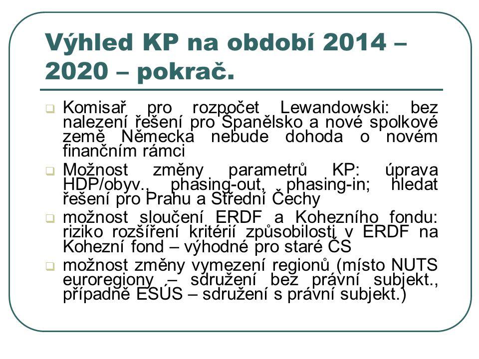 Výhled KP na období 2014 – 2020 – pokrač.  Komisař pro rozpočet Lewandowski: bez nalezení řešení pro Španělsko a nové spolkové země Německa nebude do