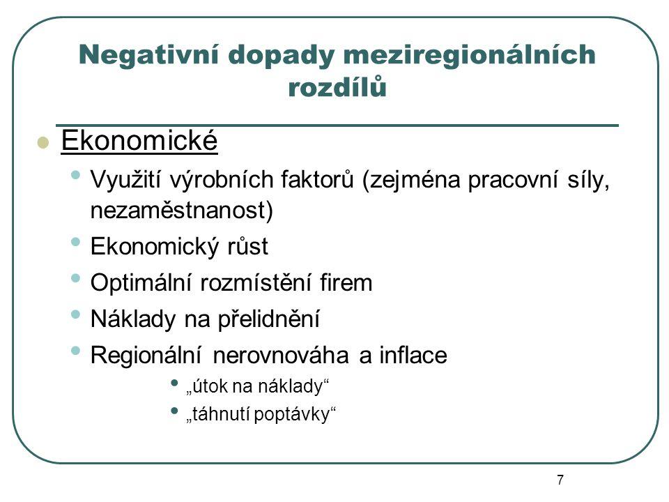 """Negativní dopady meziregionálních rozdílů Ekonomické Využití výrobních faktorů (zejména pracovní síly, nezaměstnanost) Ekonomický růst Optimální rozmístění firem Náklady na přelidnění Regionální nerovnováha a inflace """"útok na náklady """"táhnutí poptávky 7"""