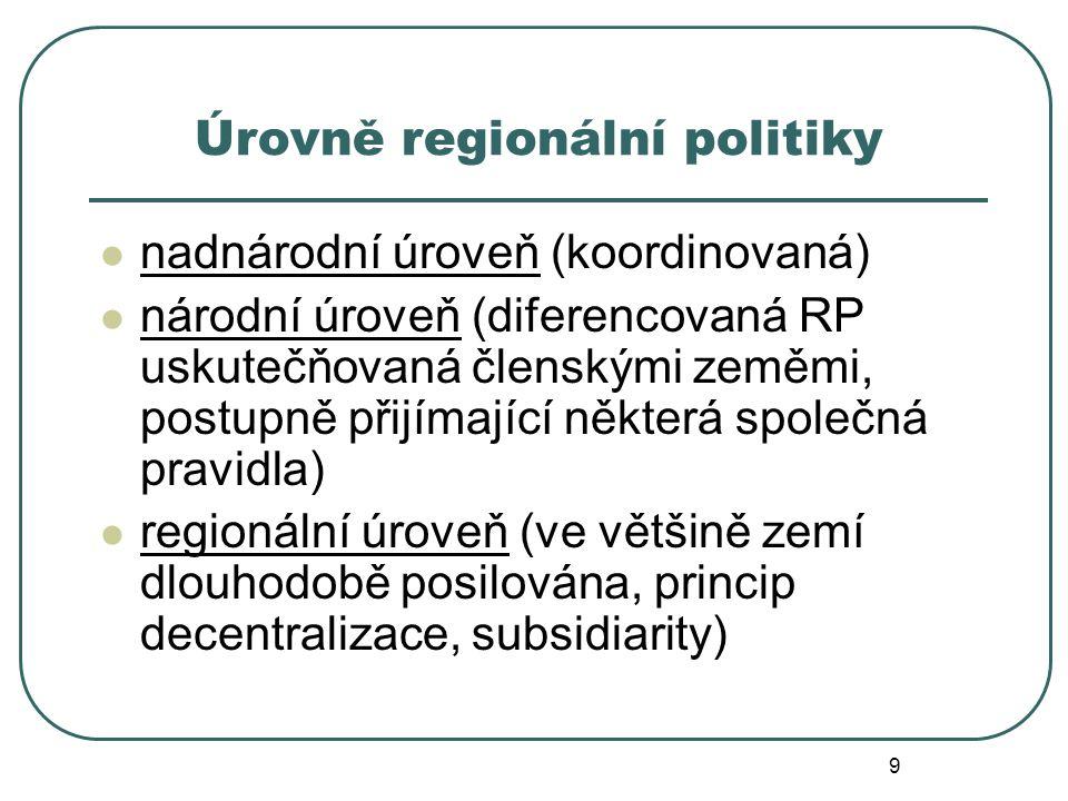 Úrovně regionální politiky nadnárodní úroveň (koordinovaná) národní úroveň (diferencovaná RP uskutečňovaná členskými zeměmi, postupně přijímající některá společná pravidla) regionální úroveň (ve většině zemí dlouhodobě posilována, princip decentralizace, subsidiarity) 9