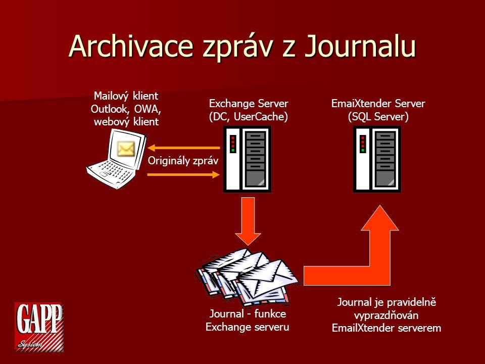 Archivace zpráv z Journalu Exchange Server (DC, UserCache) EmaiXtender Server (SQL Server) Mailový klient Outlook, OWA, webový klient Journal - funkce Exchange serveru Journal je pravidelně vyprazdňován EmailXtender serverem Originály zpráv