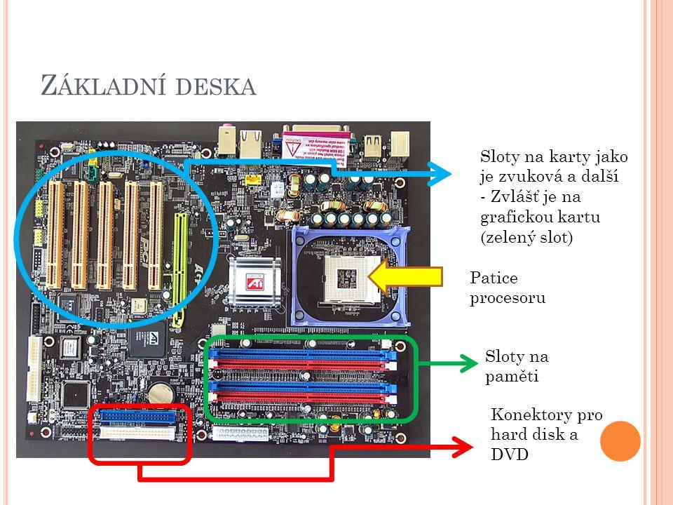 Z ÁKLADNÍ DESKA Patice procesoru Sloty na paměti Konektory pro hard disk a DVD Sloty na karty jako je zvuková a další - Zvlášť je na grafickou kartu (zelený slot)